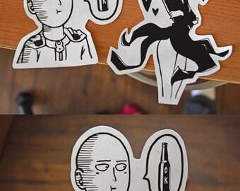 One Punch Man Sticker Set, Tatsumaki (Tornado Girl) Sticker, Sonic Stickers, Anime stickers, Free 5x7 OPM Prints Included