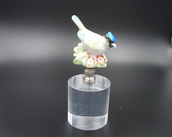 Custom Lamp Finial with an  Antique Porcelain Hand Painted  Bird with Flowers