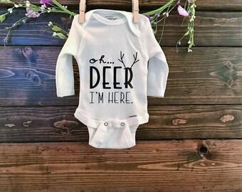 Custom Baby Onesie   Oh Deer I'm Here   New Baby Onesie   Baby Boy   Baby Onesie