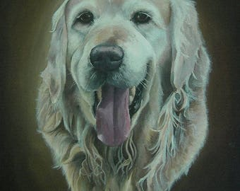Custom dog pet portrait acrylic painting