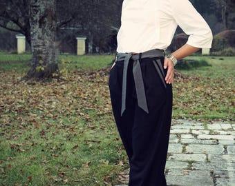 Marlene Dietrich pants, gray business trousers, wide cut pants, Marlene trousers, tight waist wide leg, wide leg pants, cut loose wide leg