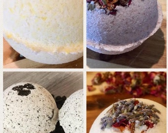 4 pack of essential oil bath bombs with coconut and olive oil; shea butter in Lavender, rose, and espresso