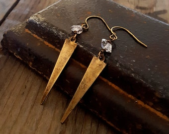 Brass Crystal Spike Earrings, Dagger Earrings, Rustic Antique, Gold Brass, Gold Spike, Herkimer Diamond, Quartz Earrings, Clear Quartz