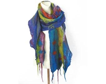 Felt Scarf, Felt Shawl, Nuno Felted, Wool Silk Shawl, Silk Wrap, Blue Scarf, Ruffled Silk Shawl, Textured Scarf, Boho Scarf, Warm Scarf