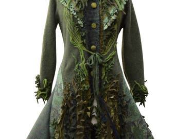 Green long Sweater COAT, fantasy boho, wearable art clothing, up cycled OOAK, refashioned festivals Eco-Couture, . Size L/XL. Ready to ship