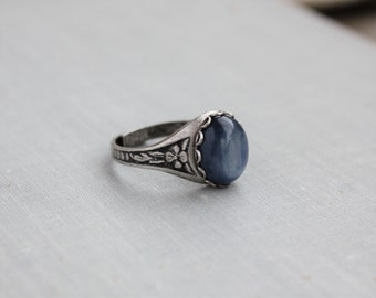 Kyanite Ring. Blue Kyanite. Antique Silver or Antique Brass
