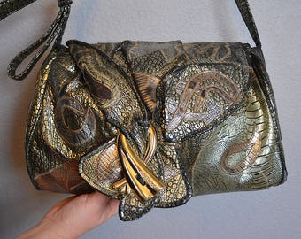 80s Alentino Faux Snakeskin and Croc Skin Patchwork Purse Metallic Colors Medium Shoulder Bag Adjustable Straps Epsteam
