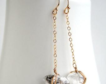 Herkimer Earrings, April Birthstone, Boho Raw Earrings, Boho Jewelry