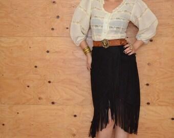 On HOLD Vintage 80's Black South Western Suede Fringe Wrap Skirt Size Medium