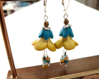 Fairy Flower Earrings, tulip earrings Mustard peacock blue, polymer clay petals, handmade jewelry artisan trumpet beads, chartreuse petunias