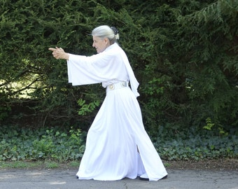 Princess Leia Organa cosplay costume star wars white hooded long dress, utility belt, adult woman MADE to ORDER only...RIP Carrie...