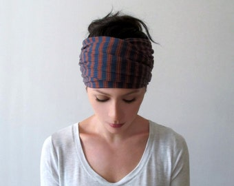 RETRO Striped Hair Wrap - Blue and Burnt Orange Headband - Thermal Knit Head Scarf - Bohemian Hair Wrap with Stripes - Yoga Headband