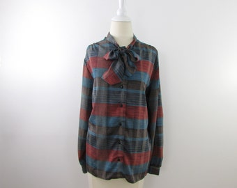 Evening Plaid Secretary Bow Blouse - Vintage 1970s Ascot Top in XLarge by Yves Venet