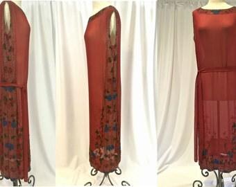 Tomato Red Silk Chiffon 1920s Beaded Sheath Evening Dress with Belt Flapper, Jazz Age
