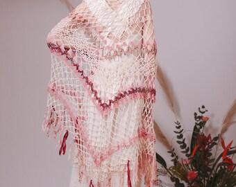 Hand knitted triangle shawl with Indian sari,Wedding shawl,Romantic shawl,Lace shawl,Crocheted shawl,Shawl wrap,Knit shawl,Wedding cover up