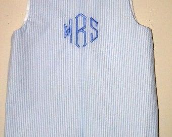 Custom made Personalized Initial Jon Jon,  Blue Seersucker Romper