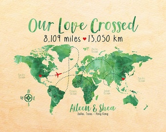 Personalized Long Distance Relationship Map, Watercolor Green World Map, Apple, Earth, Kelly Green, Popular Gifts, Calligraphy | WF197