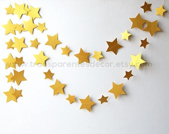 Gold star garland, Twinkle twinkle little star baby shower, Gold Wedding garland, Gold garland, Wedding decorations, Star garland, KC-9999