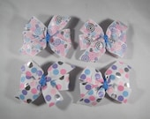 Pastel & Silver Pigtail Bow Set, Metallic Pinwheel Bows, Polka Dot Hair Clip Set for Sisters or Twins, Girl Gift Under 10, Baby Shower Gift