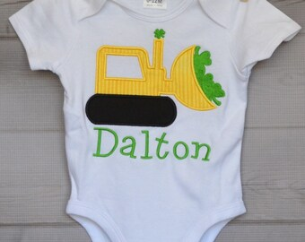 Personalized St Patricks Patty Day Tractor with Shamrocks Applique Shirt or Onesie Girl or Boy