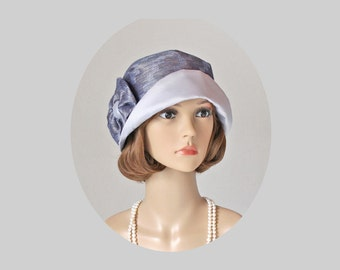 Grey and blue cloche hat, 1920s flapper hat, blue Great Gatsby hat, Downton Abbey hat, grey cloche hat, high tea hat, Miss Fisher hat