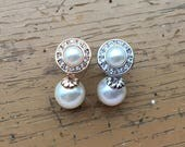 0g 2g 4g 6g 8g 10g 12g 1 PAIR White Pearl Dangle Plugs Gauges Tunnels Stud Earrings Rose Gold or Silver Bridal Wedding Bridesmaid Formal