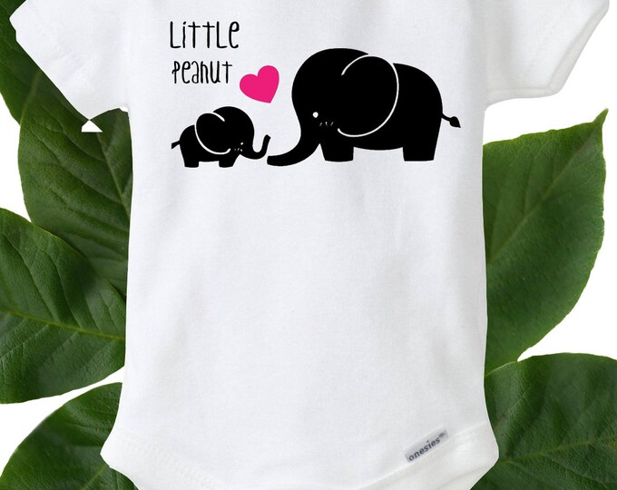 Little Peanut Elephant Baby Onesies® Black & Pink, Baby Bodysuit, Baby Girl, Baby Romper, Baby Shower Gift