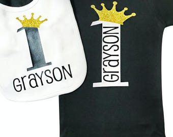 Baby Boy First Birthday Outfit, 1st Birthday Prince, Personalized Birthday Bib, Black and gold Birthday Outfit, Prince Birthday Party Outfit
