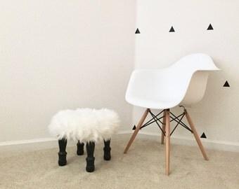 Fluffy White Foot Stool With Black Wood Legs, Black & White Modern Minimal Stool, Foot Stool Accent Piece, Regency Modern Foot Stool