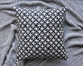 Black Cushion Cover, Throw Pillow Cover, Throw Cushion Cover, Decorative Cushion Cover, Decorative Pillow Cover - Geometric Macrame