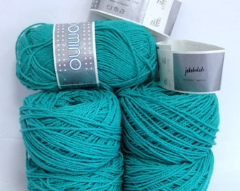 Cotton Yarn Bundle Emerald Green Vintage Yarn Destash Jakobsdals Yarn Made in Sweden Wavey Textured Discontinued Yarn Skeins Domino Cotton