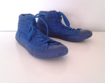 Vintage Chuck Taylor Converse All Stars Blue Canvas Hi Top Tennis Shoes Sneakers Sz 7 Women's 5 Men's Big Kids'