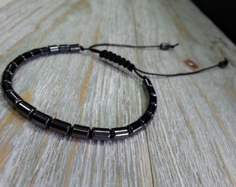 Black hematite tubes bracelet with macrame for adjustable size