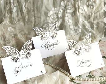 Butterfly place card / Handwritten / Calligraphy / Escort cards / Place cards / Wedding / Pearl / Laser cut / Elegant wedding / Unique