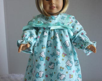 Helllo Kitty green flannel nightgown, American Girl, Fits 18 inch American Girl