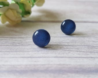 Navy earrings, Navy blue studs, Minimal earrings blue, Dark blue earrings, Navy blue stud earrings, Everyday earrings navy, Simple studs