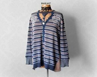 Eco Friendly Blue Art Sweater Up Cycled Clothing Women's Painted Shirt Stripe Slouchy Top Mori Girl Shirt Boho Cotton Sweater L XL 'TRINA'