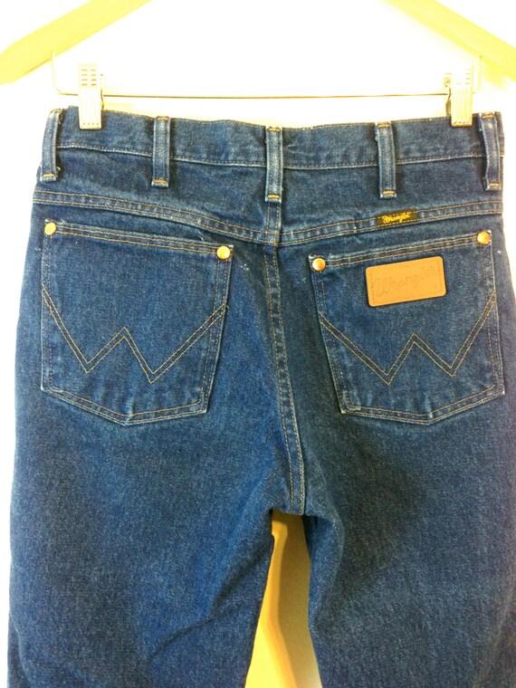 Vintage 1970s Wrangler Jeans Cowboy Cut Heavyweight Denim Original Fit Dark Blue Wash High Rise Waist Unisex Western Men's Women's 29 x 32