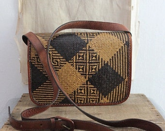 Vintage Woven Rattan And Leather Shoulder Bag, Cross Body Bag