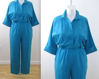 Plus Size Womens Utility Jumpsuit - Vintage 1980s 80s Turquoise Onesie Romper in 1x by Mr. Maxvintage 1980s jumpber