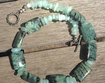 Kiwi Jasper necklace, Pale green Jasper necklace, Jasper jewelry, natural stone necklace, mint green necklace, Kiwi Jasper, Free Shipping