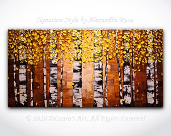 ORIGINAL Abstract Yellow Birch Trees Painting Impasto Aspen Landscape Oil Painting Heavy Textured Modern Palette Knife Art 40x20 Made2Order