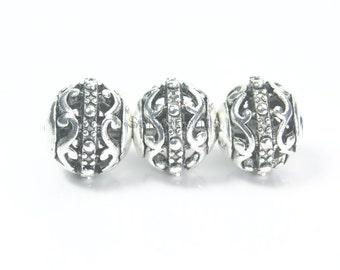 metal filigree round beads - silver tone alloy beads - antique silver hollow beads - light metal beads - quality alloy bracelet beads -20pcs