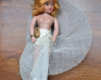 """1948 Creepy Cute Sleepy Eye Doll 7.5"""" Dutchess Doll Corp Blonde Wig Petticoat Jointed Arms and Head Blue Eyes Open and Close Sleeper Doll"""