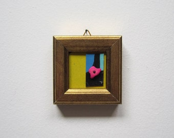Home decor little abstract art free spirit gift mini Wearable art brooch necklace Art yellow pink art gift anniversary birthday woman man