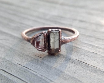 Raw Tourmaline Crystal and Copper Electroformed Ring | Size 5 1/2