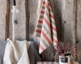 Linen TABLE RUNNER, rustic table runner, Striped linen cloth, Country style runner, Rustic chic tablecloth, Natural linen table runner