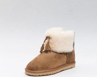 Sheepskin snow paw boots