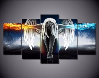 Wall art canvas Painting Angel Wings, 5 Pcs. Framed ready to hang.