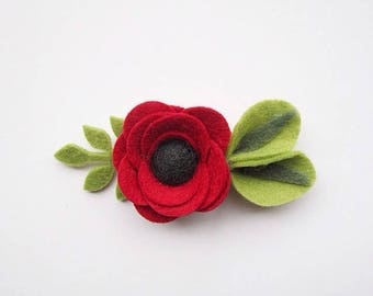 Red Felt Flower Hair Clip or Headband